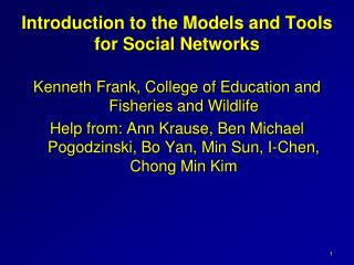 Introduction to the Models and Tools for Social Networks