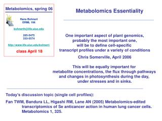Metabolomics, spring 06