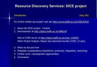 Resource Discovery Services: DICE project