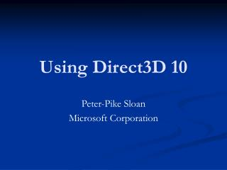 Using Direct3D 10