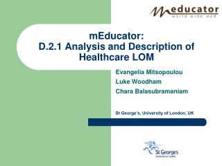 mEducator: D.2.1  Analysis and Description of Healthcare LOM