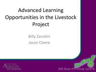 Advanced Learning Opportunities in the Livestock Project
