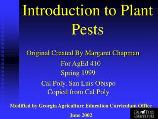 Introduction to Plant Pests