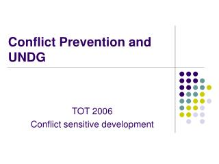 Conflict Prevention and UNDG