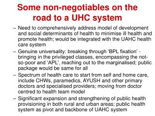 Some non-negotiables on the road to a UHC system