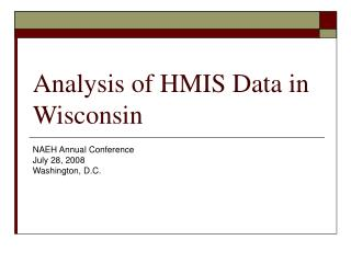 Analysis of HMIS Data in Wisconsin