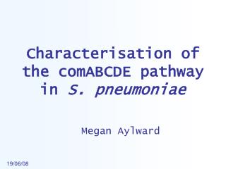 Characterisation of the comABCDE pathway in  S. pneumoniae