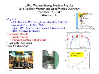 LANL Medium Energy Nuclear Physics Cold Nuclear Matter and Spin Physics Overview December 14, 2009
