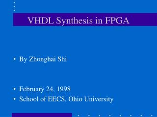VHDL Synthesis in FPGA