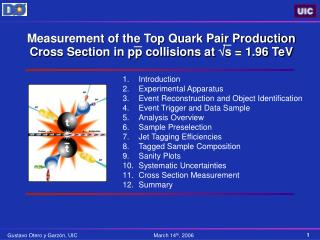 Measurement of the Top Quark Pair Production Cross Section in pp collisions at   s = 1.96 TeV