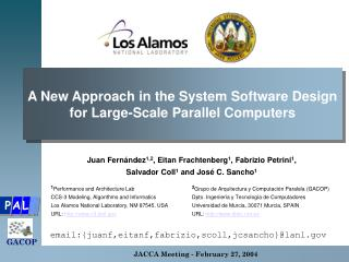 A New Approach in the System Software Design for Large-Scale Parallel Computers