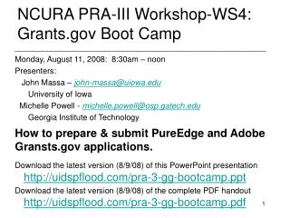 NCURA PRA-III Workshop-WS4: Grants.gov Boot Camp