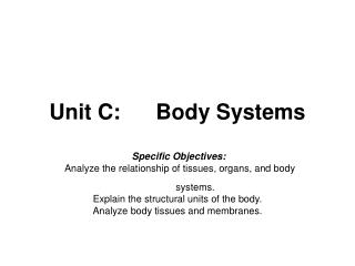 Unit C:	Body Systems