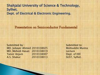 Presentation on Semiconductor Fundamental