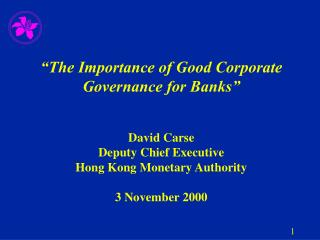 The importance of corporate governance