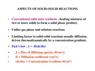 ASPECTS OF SOLID-SOLID REACTIONS