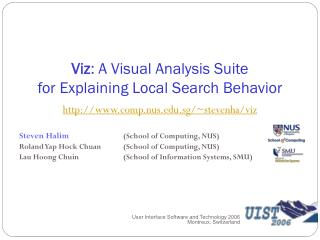 Viz : A Visual Analysis Suite for Explaining Local Search Behavior