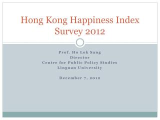 Hong Kong Happiness Index Survey 2012