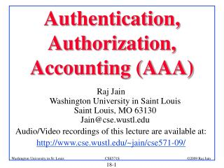 Authentication, Authorization, Accounting (AAA)