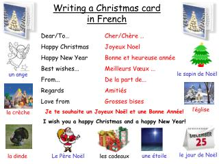 Writing a Christmas card in French