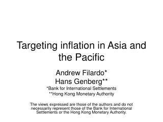 Targeting inflation in Asia and the Pacific