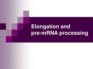 Elongation and  pre-mRNA processing