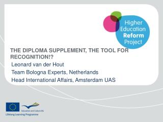 The  diploma Supplement , the  tool  for recognition!?