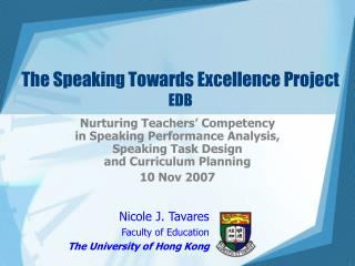 The Speaking Towards Excellence Project EDB