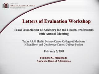 Letters of Evaluation Workshop