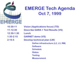 EMERGE Tech Agenda Oct 7, 1999