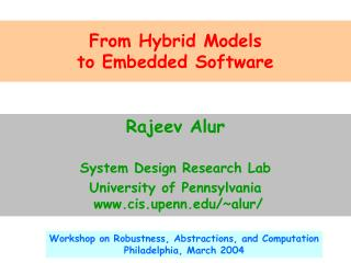 From Hybrid Models to Embedded Software