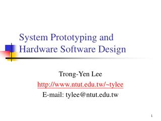 System Prototyping and Hardware Software Design