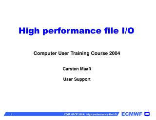 High performance file I/O