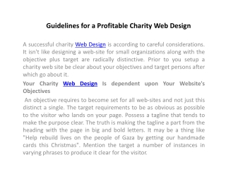 Guidelines for a Profitable Charity Web Design