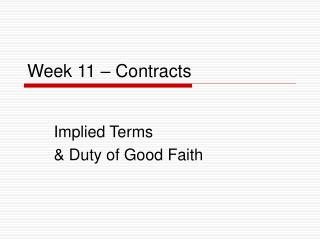 Week 11 – Contracts