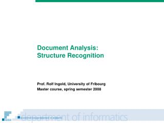 Document Analysis: Structure Recognition