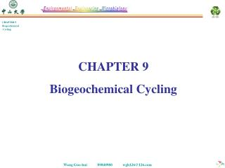 CHAPTER 9 Biogeochemical Cycling