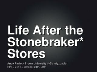 Life After the  Stonebraker * Stores