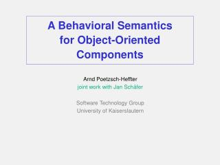 A Behavioral Semantics for Object-Oriented Components