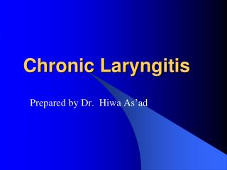 Chronic Laryngitis