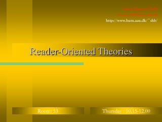 Reader-Oriented Theories