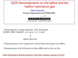 QCD thermodynamic on the lattice and the   hadron resonance gas