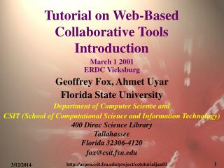 Tutorial on Web-Based Collaborative Tools Introduction