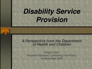 Disability Service Provision