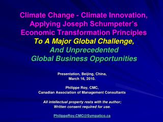 Presentation, Beijing, China, March 16, 2010. Philippe Roy, CMC,  Canadian Association of Management Consultants