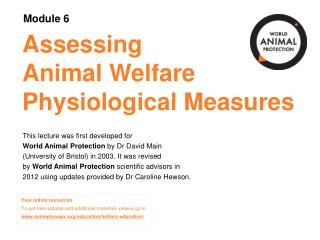 Assessing Animal Welfare Physiological Measures