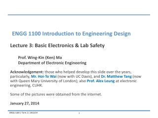Lecture 3: Basic Electronics & Lab Safety 	Prof. Wing-Kin (Ken) Ma