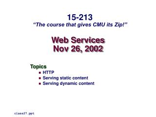 Web Services Nov 26, 2002