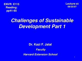 Challenges of Sustainable Development Part 1