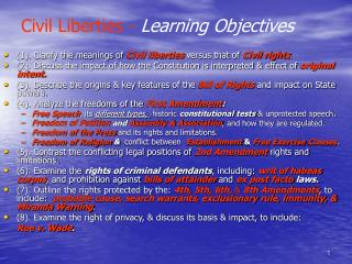 Civil Liberties - Learning Objectives